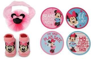 Disney Baby Minnie Mouse Milestone Stickers Headwrap and Socks Gift Set, Baby Girls 0-12M