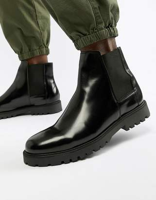 Zign Shoes chelsea boots in black high shine