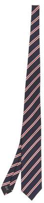 Ermenegildo Zegna Striped Jaquard Silk Tie - Mens - Navy Multi