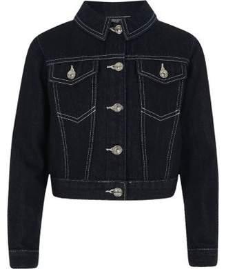 River Island Girls dark blue boxy crop denim jacket