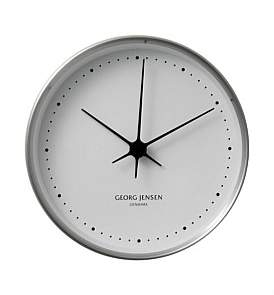 Georg Jensen Koppel 22 Cm Wall Clock, Stainless Steel With White Dial
