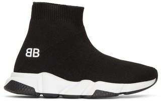 Balenciaga Boy Black and White Speed Sneakers
