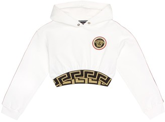 Versace Kids Embroidered cropped cotton hoodie
