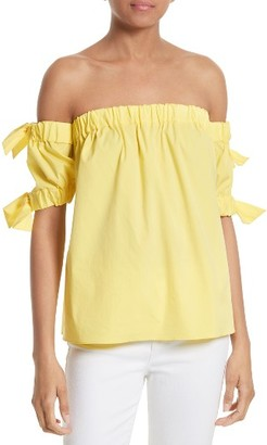 Women's Milly Off The Shoulder Bow Top $285 thestylecure.com