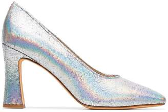 Maryam Nassir Zadeh silver metallic isa 90 leather pumps
