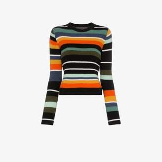 The Elder Statesman Tes stripe cropped cashmere top