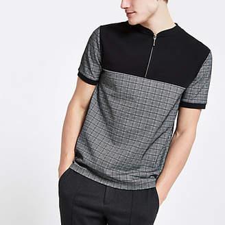 River Island Mens Grey check slim fit half zip polo shirt