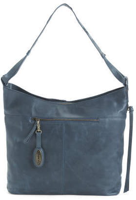 Distressed Labelle Leather Hobo