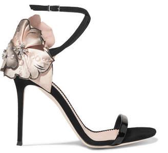 Giuseppe Zanotti Mistico Floral-appliquéd Suede Sandals - Black