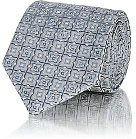 Brioni MEN'S GEOMETRIC-PATTERN SILK JACQUARD NECKTIE-GRAY