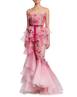 Marchesa Strapless Corset-Bodice 3-D Rose Silk Organza Mermaid Evening Gown