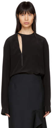 Haider Ackermann Black Silk Binding Detail Shirt