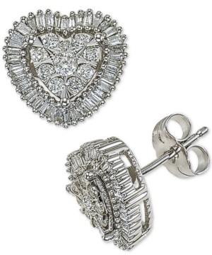 4bd101e94 Macy's Diamond Halo Heart Stud Earrings (1/2 ct. t.w.) in 14k