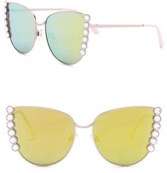 Steve Madden 60mm Rhinestone Novelty Cat Eye Sunglasses