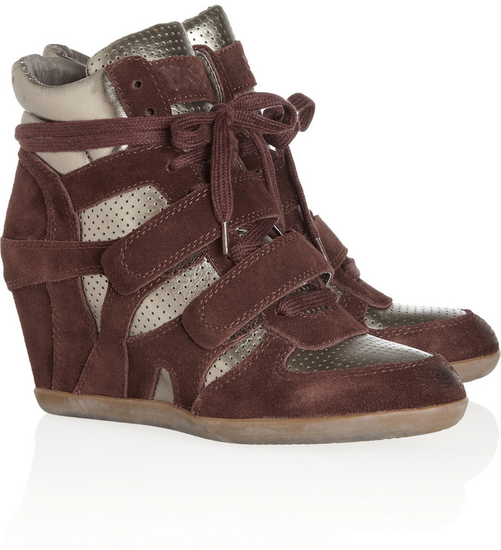 Ash Bea suede and patent-leather wedge sneakers