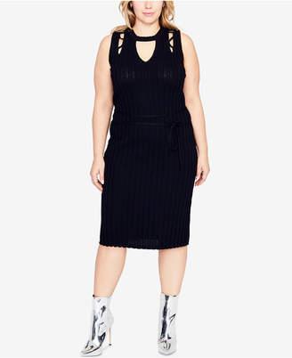 Rachel Roy Trendy Plus Size Cutout Sweater Dress