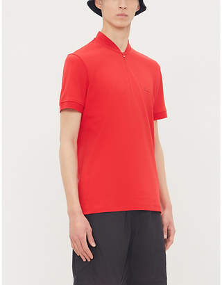 078de202fa9c HUGO Logo-embroidered zip-neck cotton T-shirt