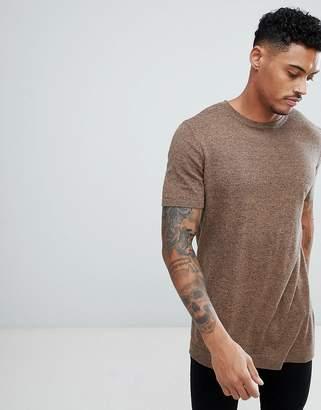 Asos Design Knitted T-Shirt In Tan Twist