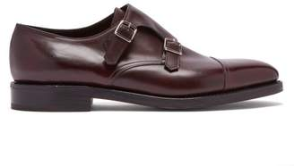 John Lobb William Double Monk Strap Leather Shoes - Mens - Burgundy
