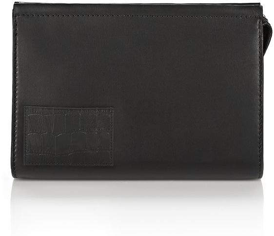 Alexander Wang LARGE POUCH IN BLACK WITH CROC EMBOSSED CARDHOLDER SMALL LEATHER GOOD