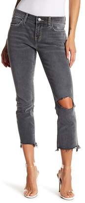 Current/Elliott The Cropped Straight Leg Distressed Jeans