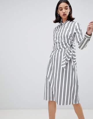 Selected Evelyn tie waist stripe shirt dress
