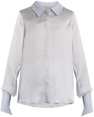 Roksanda Kanika contrast-collar silk-blend blouse