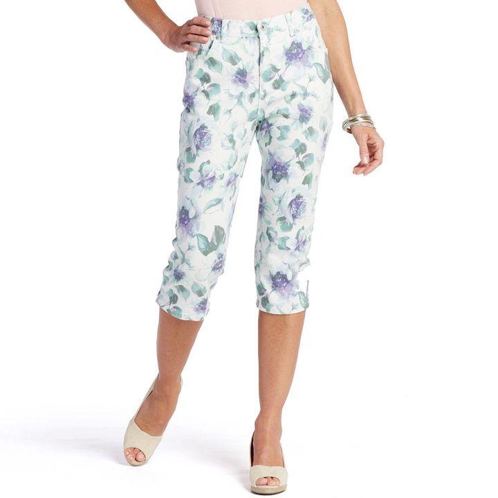 Gloria Vanderbilt amanda slimming floral denim capris