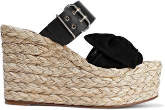 Valentino Bow-embellished Suede And Leather Espadrille Wedge Mules