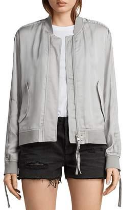AllSaints Ellis Ruched-Sleeve Bomber Jacket