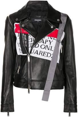 DSQUARED2 front patch biker jacket