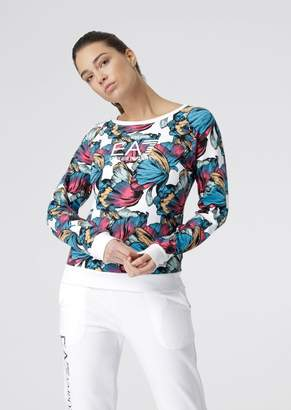 Emporio Armani Sweatshirt With Floral Motif And Ea7 Logo Print