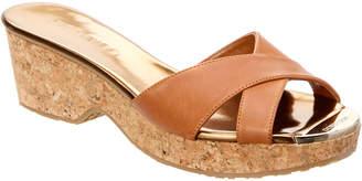 Jimmy Choo Panna Vachetta Leather Cork Wedge Sandal