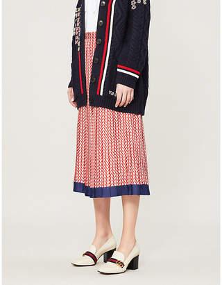 Valentino Logo-print silk-twill skirt