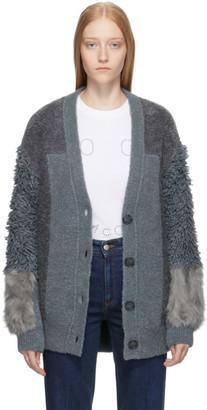 Stella McCartney Grey Faux-Fur Mix Cardigan