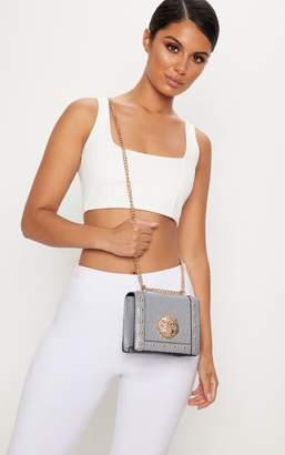 PrettyLittleThing Grey Lion Stud Chain Cross Body Bag