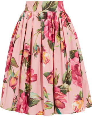 Dolce & Gabbana - Printed Cotton-poplin Skirt - Blush $845 thestylecure.com