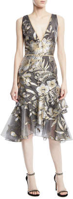Marchesa Metallic Fil Coupe Asymmetric Ruffle Cocktail Dress