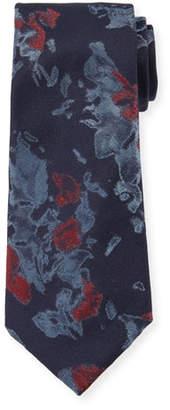 Giorgio Armani Watercolor Floral Silk Tie, Blue