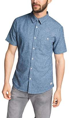 Esprit edc by Men's Co Linen Stripe Slim Fit Short Sleeve Casual Shirt