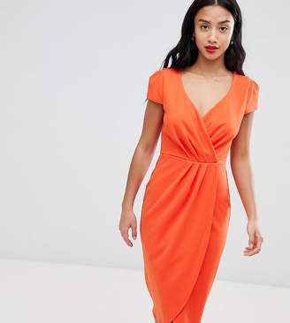 Bardot City Goddess Petite Wrap Over Pencil Midi Dress