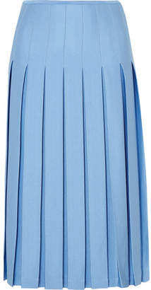 Victoria Beckham Pleated Crepe Midi Skirt - Blue