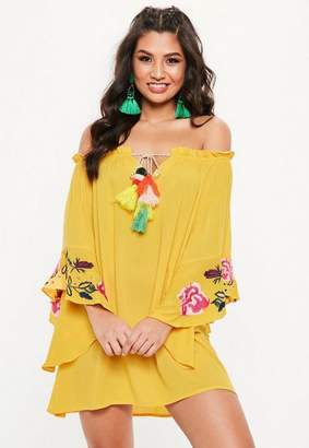 Missguided Yellow Bardot Embroidered Sleeve Tassel Sundress