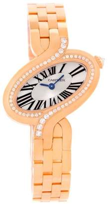 Cartier Delices WG800003 18K Rose Gold Diamond 31mm Womens Watch