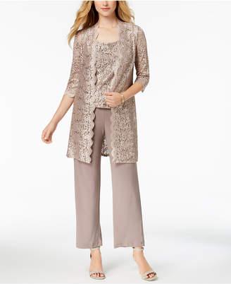 R & M Richards Petite 3-Pc. Sequined Lace Pantsuit
