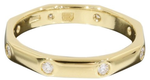 Bvlgari Bulgari 18K Yellow Gold Diamond Octagonal Ring Size 5