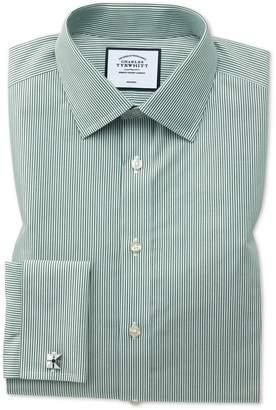 Charles Tyrwhitt Slim Fit Non-Iron Olive Bengal Stripe Cotton Dress Shirt Single Cuff Size 15.5/37