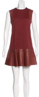 Balenciaga Leather-Trimmed Virgin-Wool Dress