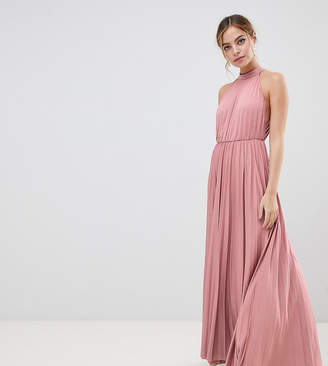 Asos DESIGN Petite Exclusive Halter Waisted Pleated Maxi Dress