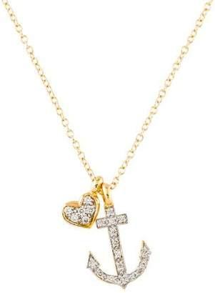14K Diamond Anchor & Heart Pendant Necklace